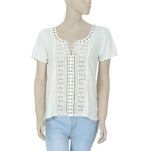 Odd Molly Crochet Lace Metal Embellished Top S 1